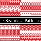 12 Nordic style vector patterns inspired by Scandinavian Christmas, festive winter seamless pattern in cross stitch with heart. Snowflake, Christmas tree, snow royalty free stock photos