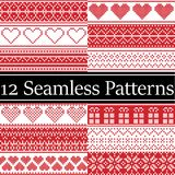 12 Nordic style vector seamless Christmas patterns inspired by Scandinavian Christmas, festive winter in cross stitch with heart royalty free illustration