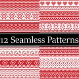 Nordic style vector semaless christmas  patterns  inspired by Scandinavian Christmas, festive winter in cross stitch with heart. Snowflake, star,  snow Stock Photos