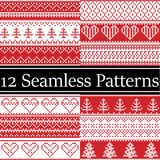 Nordic style vector semaless christmas patterns inspired by Scandinavian Christmas, festive winter in cross stitch with heart. Nordic style vector semaless Royalty Free Stock Photos