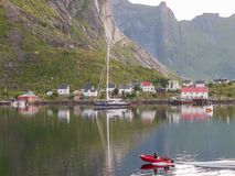 Nordic summer night in Lofoten Stock Photos