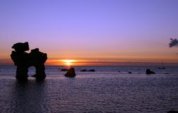 Nordic sunset. Sunset up in scandinavia with nice rock formations stock image