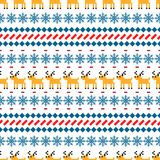 Nordic sweater seamless vector pattern with deer. Blue and red knitted background winter holiday design for fabric, wrap gift paper and apparel Royalty Free Stock Images