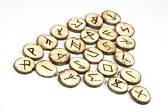 Nordic Symbols on Collection of Handmade Wooden Runes Royalty Free Stock Photo