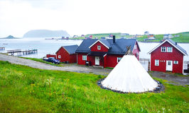 Nordic tipis for rent next to sea Stock Photo
