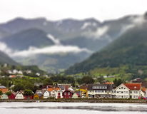 Nordic town in the mountains Royalty Free Stock Images