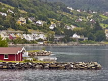 Nordic town in the mountains Stock Photography