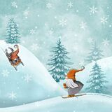 Nordic traditional gnomes sledding and skiing on snow hills. Funny New Year and Christmas watercolor illustration. Scandinavian watercolor Christmas illustration