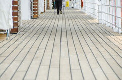 Nordic trekking on ship deck Royalty Free Stock Photo