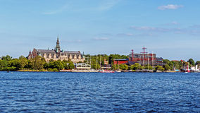 The Nordic and Vasa Museums. On Djurgarden Island in Stockholm. The Island is home to historical buildings, monuments, galleries, the amusement park Grona Lund Royalty Free Stock Photo