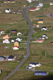 Nordic village. Bird's eye view of Sorland on island of Vaeroy, Lofoten islands in Norway Stock Image