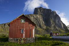 Nordic village. Traditional red wooden houses in norwegian village Nordland on island of Vaeroy, Lofoten Stock Photo