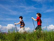 Nordic walkers. Nordic walking - active young people exercising outdoor Stock Photography