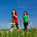 Nordic walkers. Nordic walking - active people outdoor Royalty Free Stock Image