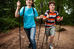 Nordic walkers. Nordic walking - active young people exercising outdoor Stock Photos