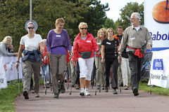 Nordic walkers begin the race Stock Photography