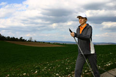 Nordic walking #1. Nordic walking tour in Bavaria / Germany Royalty Free Stock Photos