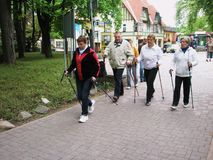 Nordic walking. Group of seniors with nordic sticks with an instructor Stock Images