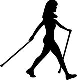 Nordic Walking. Illustration of a nordic walking woman Royalty Free Stock Images
