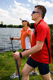 Nordic walking. Tour in summer Royalty Free Stock Image