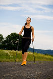 Nordic walking. In the summer Royalty Free Stock Photography