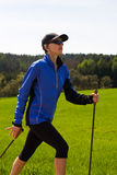 Nordic walking. In the summer Royalty Free Stock Images