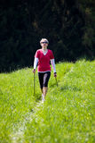 Nordic walking. In the summer Stock Image