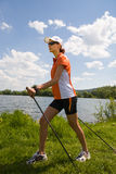 Nordic walking. In the summer Stock Images