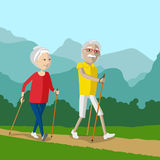 Nordic walking - active pensioners outdoor. Stock Images