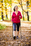 Nordic walking. Active people outdoor Royalty Free Stock Photos