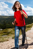 Nordic walking. Active people outdoor Royalty Free Stock Image