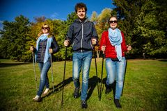 Nordic walking - active people working out Stock Image