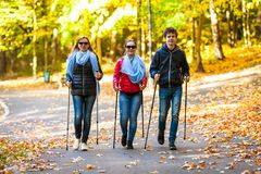 Nordic walking - active people working out. In park royalty free stock photography