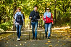 Nordic walking - active people working out Royalty Free Stock Photo
