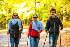 Nordic walking - active people working out. In park royalty free stock photo