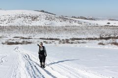 Nordic Walking - adult man hiking on snow in winter Royalty Free Stock Photo