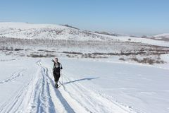 Nordic Walking - adult man hiking on snow in winter Stock Images