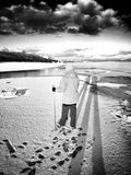 Nordic walking. Artistic look in black and white. Royalty Free Stock Photos