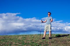 Nordic walking, exercise, adventure, hiking concept -man hiking royalty free stock photos