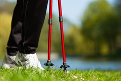 Nordic walking. Female legs hiking in the park. Stock Images