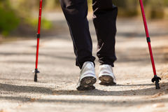 Nordic walking. Female legs hiking in the park. Royalty Free Stock Image