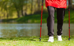 Nordic walking. Female legs hiking in the park. Stock Photography