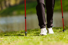 Nordic walking. Female legs hiking in the park. Royalty Free Stock Images