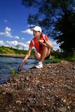 Nordic walking girl Stock Images