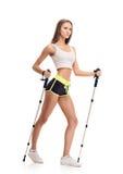 Nordic walking. girl full length portait Royalty Free Stock Photos