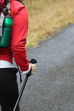 Nordic walking hand in autumn Royalty Free Stock Photo