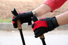 Nordic walking hands close up Stock Photos