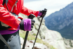 Nordic walking hands in high mountains Stock Image