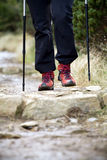 Nordic Walking, hiking in mountains Royalty Free Stock Photo
