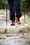 Nordic Walking, hiking in mountains Royalty Free Stock Photo